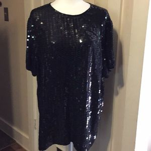 Diane Gilman sequined 💯 % silk top size L